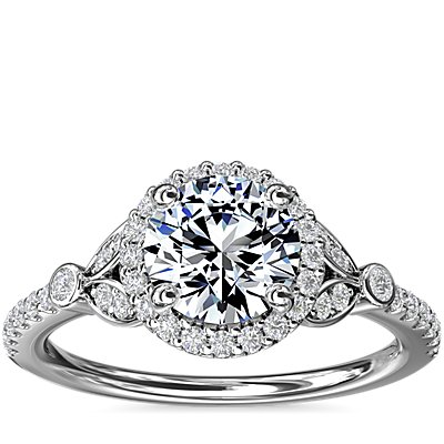 Petite Pavé Leaf Halo Diamond Engagement Ring in Platinum (1/4 ct. tw.)